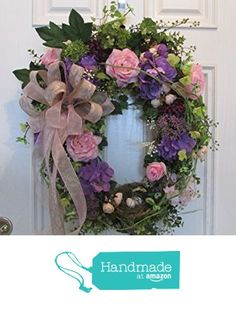 Spring, Summer Oval Grapevine Wreath with Garden Roses, Hydrangeas and Bird Nest from Wreaths By Eugenia http://www.amazon.com/dp/B01BO3RQ6M/ref=hnd_sw_r_pi_dp_YErVwb11TJBZV #handmadeatamazon