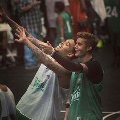 Justin Bieber & Chris Brown At BET Basketball Game