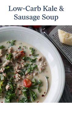 Low Carb Soups, Low Carb Soup Recipes, Healthy Soup Recipes, Keto Recipes, Cooking Recipes, Healthy Eating Meal Plan, Clean Eating Soup, Vegetarian Nachos, Sausage Soup
