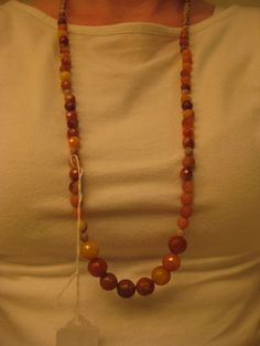 Yellow Jade and Red Net Jasper Necklace by GoldCatJewelry on Etsy, $10.00
