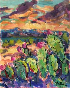 Texas Hill Country Landscape original painting by RussPotakArtist