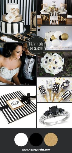 Black white and gold wedding / Boda blanco negro y dorado  Invitacion de www.4partycrafts.com