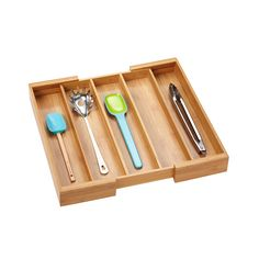 Expandable Bamboo Utensil Tray | The Container Store
