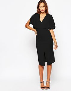 ASOS+Wiggle+Dress+with+Woven+Mix+Angel+Sleeve