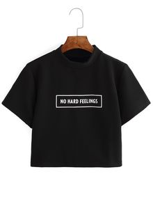 Black Letter Print Crop T-shirt