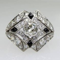 ANTIQUE-ART-DECO-PLATINUM-DIAMOND-ONYX-RING
