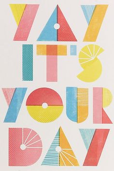 Creative Typography, Cards, Marks, and Spencer image ideas & inspiration on Designspiration Design Web, Happy Design, Print Design, Types Of Lettering, Hand Lettering, Block Lettering, Inspiration Typographie, Birthday Design, Diy Birthday