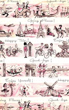 Vintage Gift Wrap Goodbye Travel Wrapping Paper by hensfeathers, $9.00