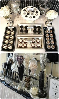 Like the love plaque-Dessert table ideas! Black and White Wedding Inspiration - Uniquely Yours Wedding Invitation Black And White Wedding Theme, Black White Parties, Black And White Party Decorations, White Decor, Candy Table, Candy Buffet, Before Wedding, Wedding Day, Wedding Table