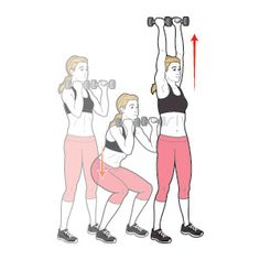 Dumbbell Squat to Overhead Press - Fastest Way To Lose Ten Pounds Workout Pilates, Sport Fitness, Health Fitness, Women's Health, Health Tips, Squats Fitness, Health Care, Dumbbell Squat, Dumbbell Workout
