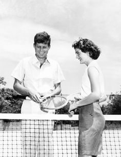 John and Jackie Kennedy playing a spot of tennis, 1953 | via theniftyfifties