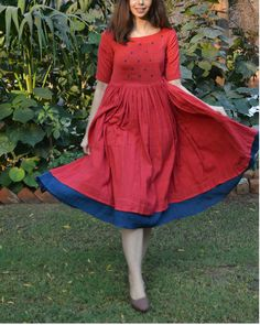 Shop online Red indigo layer frock with polka applique Red cotton frock style dress with lots of waistline gathers, and an indigo layer at the bottom. The bodice is embellished with applique indigo dots Simple Frocks, Casual Frocks, Dress Casual, Kalamkari Dresses, Ikkat Dresses, Maxi Dresses, Indian Gowns Dresses, Indian Fashion Dresses, Indian Outfits