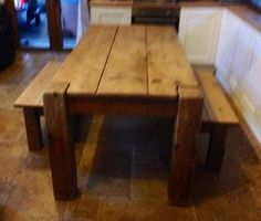 indigo furniture butchers dining kitchen solid plank  wood table & 2 benches   | eBay