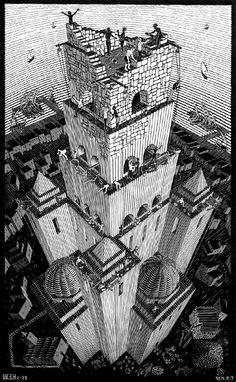 Torre de babel (1928)  Descripción: Grabado de madera. 62 x 38,5 cm. Localización: Cordon Art-Baarn. Holanda Autor: Maurits Cornelius Escher