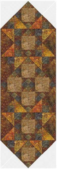 View Item: Quilt Pattern - Hearth Stone Table Runner - Made w Moda, Breezy Batiks Fabric
