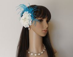 Hair Flower- White Zinnia Flower With Torquoise Ostrich Feathers-Flower Hair Clip