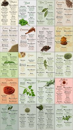 & Spices Cheatsheet - Pretty much saved my cooking. Herb and spices cheat sheet. Good for all those herbs I have less experience using!Herb and spices cheat sheet. Good for all those herbs I have less experience using! Homemade Spices, Homemade Seasonings, Homemade Cookbook, Spice Blends, Spice Mixes, Spice Rub, Cooking Tips, Cooking Recipes, Cooking Videos