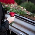 Photo about Religion, death and dolor - funeral and cemetery; funeral with coffin. Image of casket, caucasian, black - 21714467