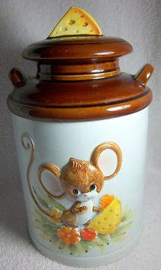 Mouse Cookie Jar Milk Pail Cheese 1981 Sears Roebuck Japan Large Vintage
