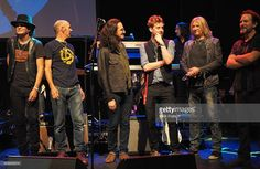 Frank Simes, Simon Townshend, Geddy Lee, Ricky Wilson, Joe Elliott and Eddie Vedder close the show after an evening of The Who music in aid of Teenage Cancer Trust, at O2 Shepherd's Bush Empire on November 11, 2014 in London, England.