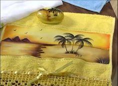 paisagem Fabric Painting, Stencils, Google, Bath Towels & Washcloths, Hand Towels, Personalized Towels, Art Dolls, Face Towel, Paintings