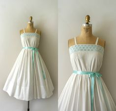 1950s Vintage Dress  50s White Cotton Sundress  by Sweetbeefinds