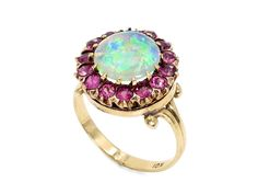 10 Karat Yellow Gold Victorian Opal and Pink Sapphire Halo Cocktail Ring Star Jewelry, I Love Jewelry, Fine Jewelry, Jewellery, Green Diamond, Diamond Heart, Pink Sapphire, Cocktail Rings, Beautiful Rings