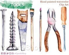 Herramientas clip art herramientas acuarela pintado a mano cerrucho pinceles clavos tornillos pinzas herramientas png madera hombre regalo by CpandoShop on Etsy