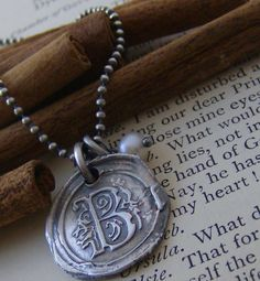 Vintage letters with pearl... hand stamped fine silver wax seal initial necklace.