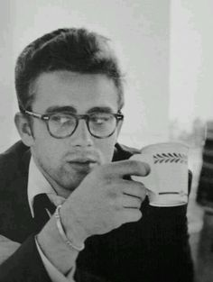 """James Dean. """"I want mine to wear glasses...Men who wear glasses are so much more gentle, and sweet, and helpless. Haven't you ever noticed it?..They get those weak eyes from reading - you know, those long tiny little columns in the Wall Street Journal"""" -Sugar (Marilyn Monroe in Some Like It Hot)"""