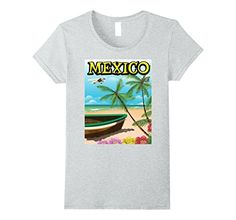 Womens Mexico Beach travel poster Small Heather Grey Nick...