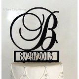 Monogram Cake Topper with Event Date Personalized with a B C D E F G H I J K L M N O P Q R S T U V W X Y Z