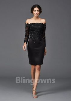 Off-the-shoulder Long Sleeves Black Beads Sheath Satin Zipper Knee Length Cocktail / Mother Of The Bride Dresses Mothers Dresses, Bride Dresses, Formal Dresses, Cheap Cocktail Dresses, Mother Of The Bride, Off The Shoulder, Cocktails, Satin, Zipper