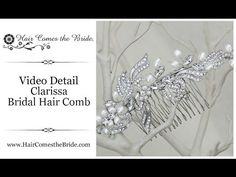 """VIDEO- Pearl and Rhinestone Bridal Hair Comb """"Clarissa"""" by Hair Comes the Bride ~ #bridalhairaccessories #weddinghairaccessories #bridalcomb #weddingcomb #bridalhaircomb #weddinghaircomb"""