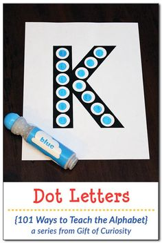 Free printable Dot Letter Activity Pages that help kids learn the alphabet while also developing an understanding of one-to-one correspondence. Includes great ideas for promoting fine motor skills as well! #freeprintable #letters #preschool #kindergarten #DoADot #giftofcuriosity #101WaysToTeachTheAlphabet || Gift of Curiosity
