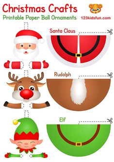 In our free Christmas Printable, you will find coloring pages, christmas cards, paper ball ornaments, christmas games and gift tags. Printable Christmas Ornaments, Christmas Decorations For Kids, Christmas Activities For Kids, Free Christmas Printables, Free Printables, Santa Crafts, Christmas Paper Crafts, Paper Crafts For Kids, Christmas Diy