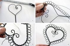 A use for those Spiral notebook cast offs. Wire Crafts, Metal Crafts, Jewelry Crafts, Barbed Wire Art, Copper Wire Art, Wire Wrapped Jewelry, Wire Jewelry, Jewellery, Art Fil