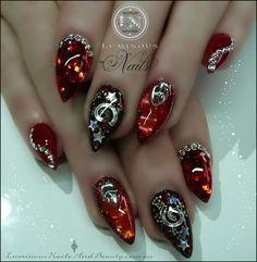 Luminous Nails: Red Garnet & Red Opal Nails with a Deep Red Galaxy...