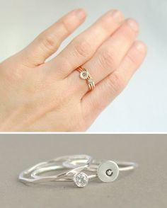 """Lovely little stacking rings from Meadowbelle Market -- get with the initial of your new last name + a blue gemstone for your """"something blue""""!"""