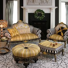 Queen Bee Furniture Set; French flair with bold yellow, gray and black color scheme- all inspired by the humble bumblebee.