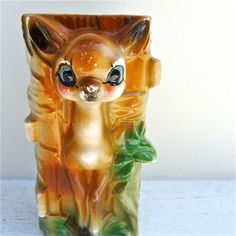 Vintage Deer Fawn Wall Pocket Vase by twolittleowls on Etsy