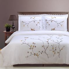 Blossom embroidered 3-Piece duvet cover sets are made from 200-thread count cotton that feels like 400 thread count. The result is a durable fabric with quality softness and colorfast elegant colors.