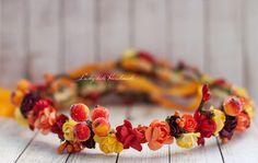 Autumn flower crown Fall wedding hair by LuckyKidsHandmade on Etsy