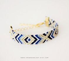 Navy Aztec / XO / Gold Chain Friendship Bracelet / by crownandleaf