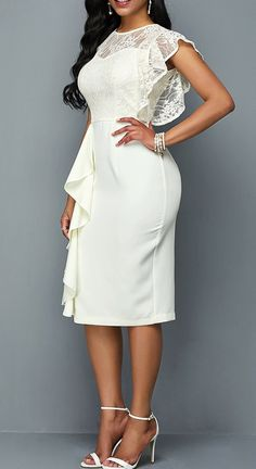 Lace Patchwork Round Neck Ruffle Trim Dress - Summer is here and you know what that means… lots of weddings! When you have multiple events to a - Classy White Dress, White Dress With Sleeves, White Dress Outfit, White Boho Dress, Little White Dresses, Dress Outfits, Dress Lace, Dress Prom, Dress Wedding