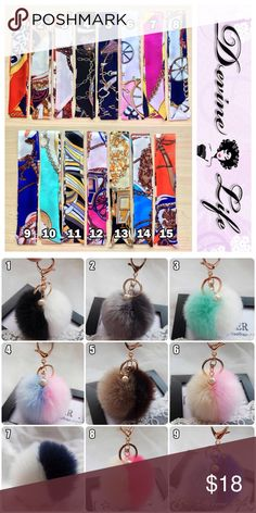 Bundle Twilly #7 & Pom Keychain #6 Pink (2 piece) Silk twilly handbag accessories. Measures 39 x 1.5 inches. Style #7. Bundle With Pom Keychain #6 Accessories Scarves & Wraps