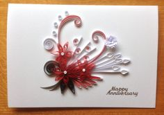 Quilling Anniversary Card Red and White