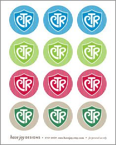 2 inch Graphic Rounds in Printable Collage Sheet - CTR (shield & stripe design). $2.50, via Etsy.