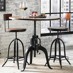 Buy the Industrial Crank Pub Table and Two Stools at Wine Enthusiast – we are your ultimate destination for wine storage, wine accessories, gifts and more! Round Pub Table, Pub Table Sets, Round Bar, Pub Tables, Dining Tables, High Top Table Kitchen, High Top Tables, Industrial Design Furniture, Industrial Table