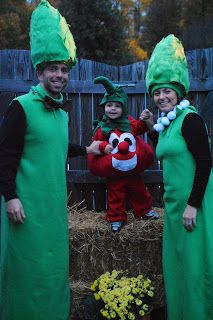Veggie Tales Halloween costumes!  Bob the Tomato and the Asparagus couple!!  I made these in two days!  So fun!!